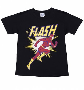 Kids Black DC Comics Flash Running T-Shirt