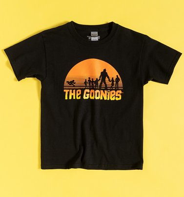 Kids Black Goonies Sunset Silhouette T-Shirt