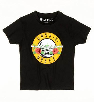 Kids Black Guns N Roses Classic Logo T-Shirt