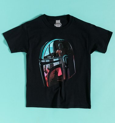 Kids Black Star Wars Mandalorian Helmet Reflection T-Shirt