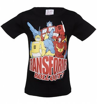 Kids Black Transformers Roll Out T-Shirt