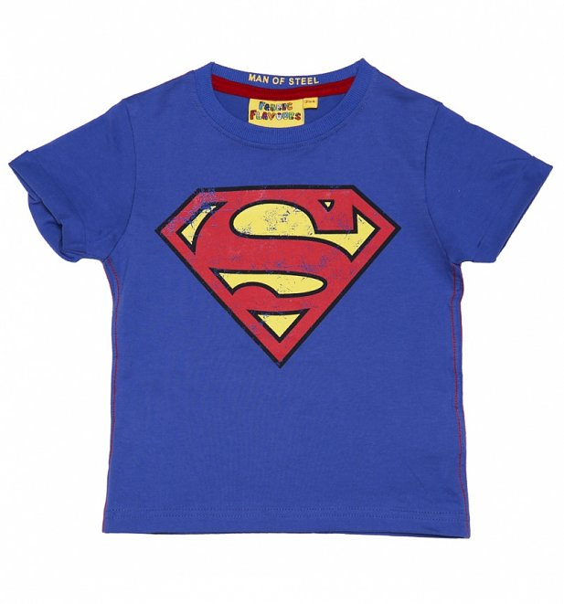 Kids Blue DC Comics Superman Logo T-Shirt from Fabric Flavours