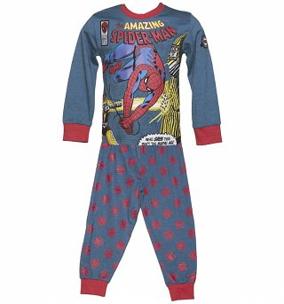Kids Blue Marl Amazing Spider-Man Pyjamas from Fabric Flavours