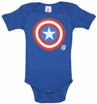 Kids Blue Marvel Captain America Shield Logo Babygrow