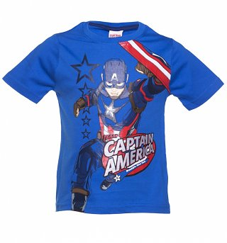 Kids Blue Marvel Comics Captain America New York T-Shirt