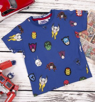 Kids Blue Marvel Superheroes Repeat Print T-Shirt from Fabric Flavours