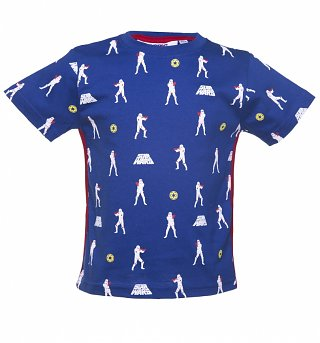 Kids Blue Star Wars Stormtrooper Repeat Print T-Shirt from Fabric Flavours