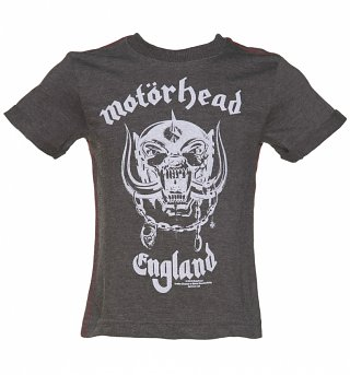 Kids Dark Grey Marl Motorhead England T-Shirt from Amplified Kids
