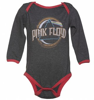 Kids Dark Grey Marl Pink Floyd On The Run Babygrow from Amplified Kids