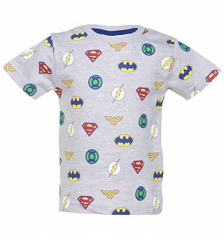 Kids Grey DC Comics Justice League Logo T-Shirt from Fabric Flavours