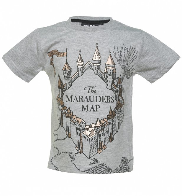 Kids Grey Harry Potter Marauder's Map T-Shirt from Fabric Flavours