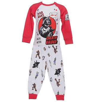 Kids Grey Marl Darth Vader I Am The Master Star Wars Pyjamas from Fabric Flavours