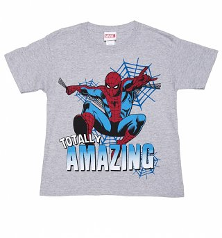 Kids Grey Marl Marvel Comics Amazing Spider-Man T-Shirt
