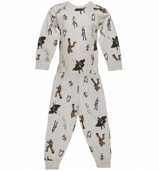 Kids Grey Marl Star Wars Characters Pyjamas from Fabric Flavours