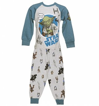 Kids Grey Marl Star Wars Jedi Master Pyjamas from Fabric Flavours