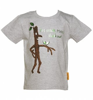 Kids Grey Marl Stick Man T-Shirt from Fabric Flavours
