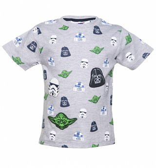 Kids Grey Star Wars Multi Character Badges T-Shirt from Fabric Flavours