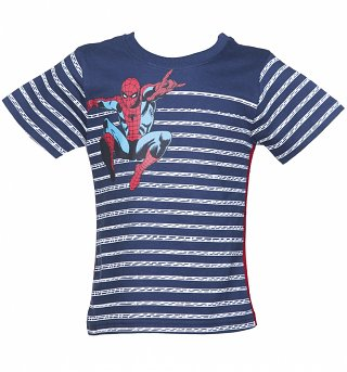 Kids Marvel Spider-Man Web Stripe T-Shirt from Fabric Flavours
