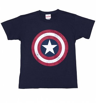 Kids Navy Blue Marvel Comics Captain America Distressed Shield T-Shirt