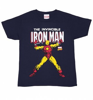 Kids Navy Blue Marvel Comics Iron Man T-Shirt