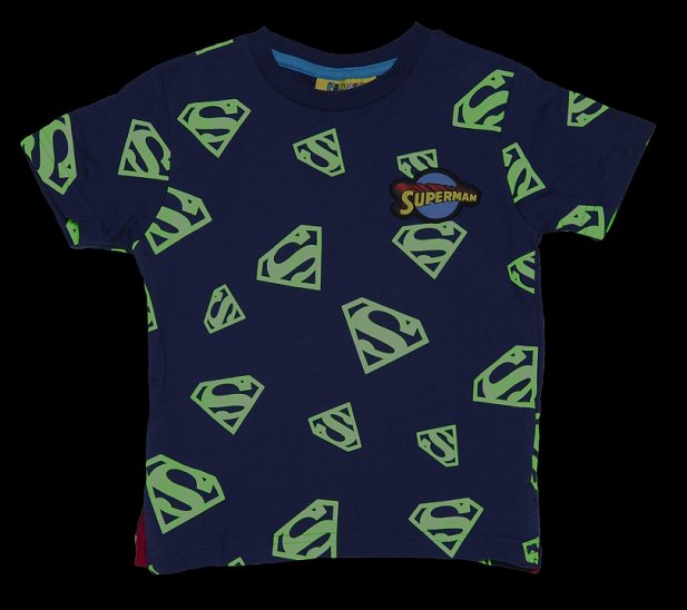 Kids Navy DC Comics Superman Logo Glow In The Dark T-Shirt from Fabric Flavours