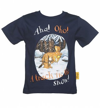 Kids Navy Gruffalo's Child Track In The Snow T-Shirt from Fabric Flavours