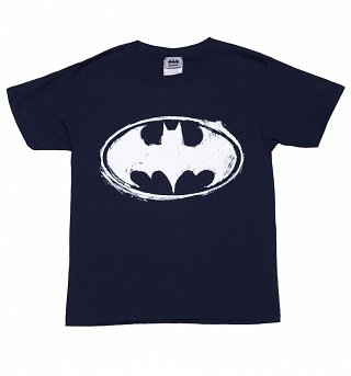 Kids Navy Marl DC Comics Batman Sketch Logo T-Shirt