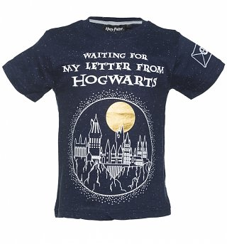 Kids Navy Speckled Harry Potter Hogwarts Letter T-Shirt from Fabric Flavours