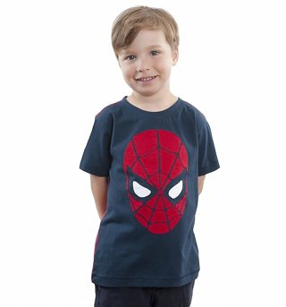 Kids Navy Spider-Man Applique Face T-Shirt from Fabric Flavours