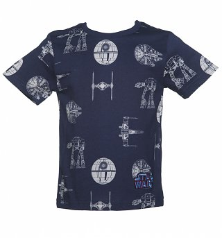 Kids Navy Star Wars Transporter Repeat T-Shirt from Fabric Flavours