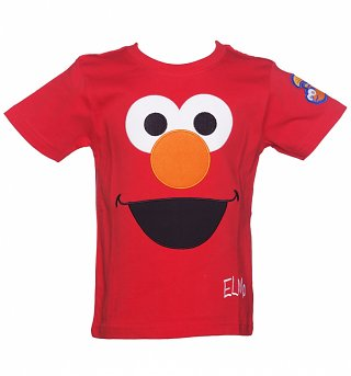 Kids Red Sesame Street Elmo Face T-Shirt from Fabric Flavours