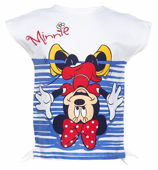 Kids White Disney Minnie Mouse Upside Down T-Shirt