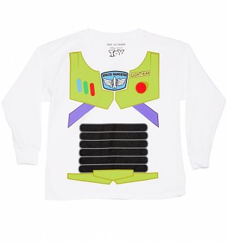 Kids White Disney Pixar Toy Story Buzz Lightyear Long Sleeved Costume T-Shirt