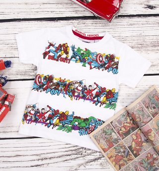 Kids White Marvel Superheroes Striped T-Shirt from Fabric Flavours