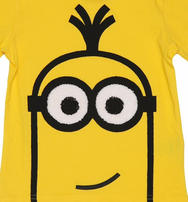 Kids Yellow Embroidered Kevin Minions T-Shirt from Fabric Flavours