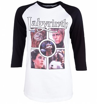 Labyrinth Character Collection White And Black Raglan Baseball T-Shirt