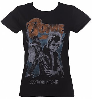 Women's Black David Bowie 1972 World Tour T-Shirt