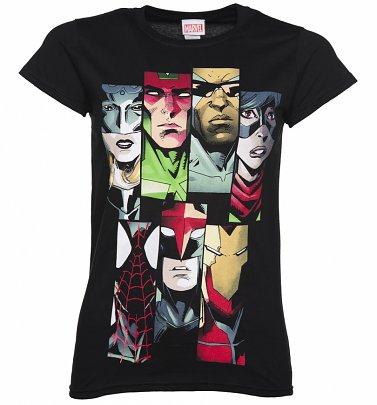 Women's Black Marvel Avengers Line Up T-Shirt