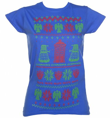 Women's Blue Doctor Who Fair Isle Knit Design T-Shirt