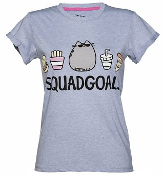 Women's Blue Marl Pusheen Squad Goals Rolled Sleeve T-Shirt