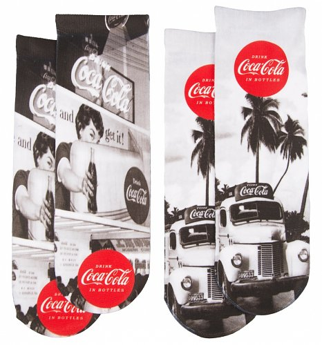 Women's Coca-Cola Black and White Photo Print 2pk Socks
