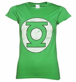 Women's Green Distressed DC Comics Green Lantern Logo T-Shirt