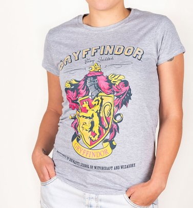 Women's Grey Harry Potter Gryffindor Team Quidditch T-Shirt