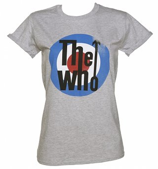 Women's Grey Marl The Who Target Rolled Sleeve Boyfriend T-Shirt