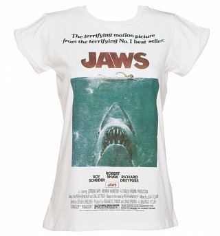 Women's Jaws Movie Poster Rolled Sleeve Boyfriend T-Shirt