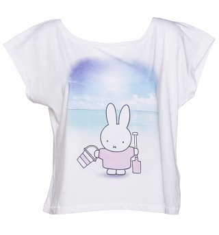 Women's Miffy At The Beach Oversized Cropped Scoop T-Shirt