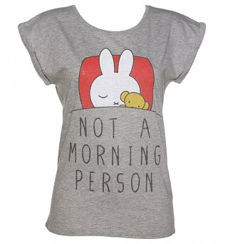 Women's Miffy Not a Morning Person Rolled Sleeve Tunic T-Shirt