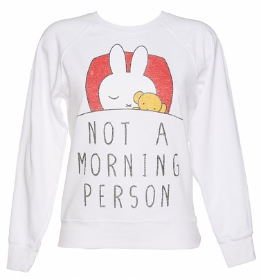 Women's White Miffy Not a Morning Person Sweater
