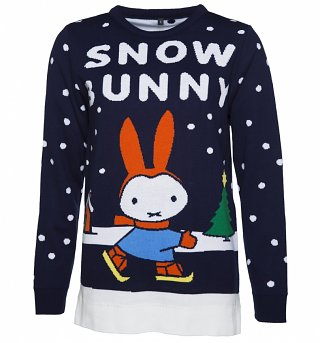 Women's Navy Miffy Snow Bunny Knitted Jumper