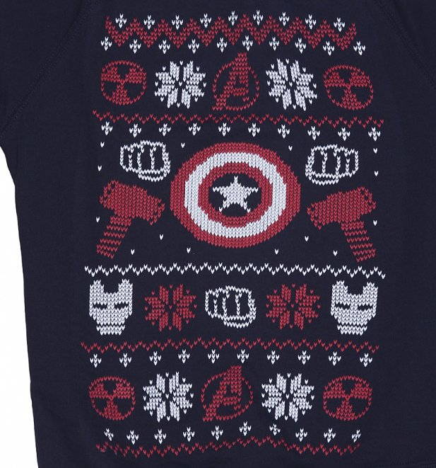 Women's Navy Marvel Characters Symbols Fair Isle Knit Design Sweater